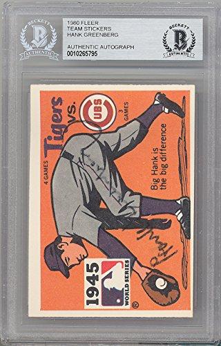 Hank Greenberg Autographed 1980 Fleer Sticker Card Detroit Tigers 1945 World Series Beckett BAS #10265795