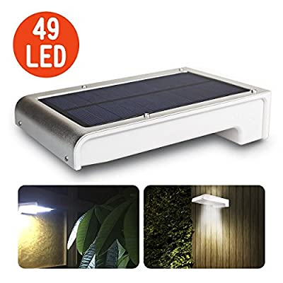 49 LED Solar Lights, Motion Sensor Security Detector Street Light, Super Bright Solar Powered Outdoor Security Light, for Yard Garden Stairs Outside Wall Driveway Pathway ( Silver )