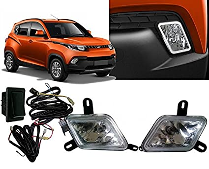 Auto Pearl Fog Light with Wiring Kit and Switch for Mahindra KUV 100 on