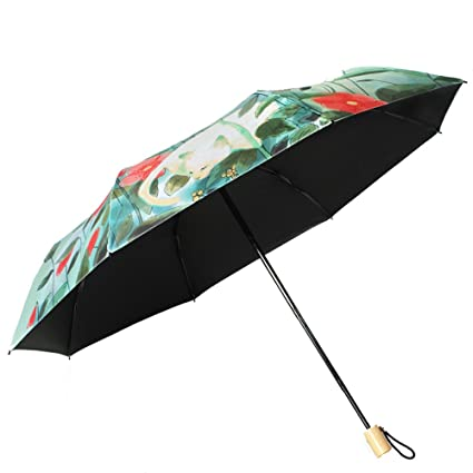 785832fac006 Amazon.com: UMBREQI Women's Sun Umbrella Flower and Cat Pattern ...