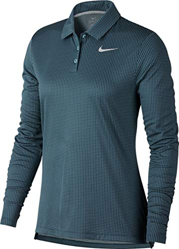 Nike Women's Dry Longsleeves Core Circular Knit Jacquard Golf Polo (Igloo/Flat Silver, X-Large)