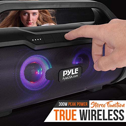 Wireless Portable Bluetooth Boombox Speaker – 500W 2.0CH Rechargeable Boom Box Speaker Portable Barrel Loud Stereo System with AUX Input/USB/SD/Fm Radio, 3″ Subwoofer, Voice Control – Pyle PBMWP185 512t260SjtL