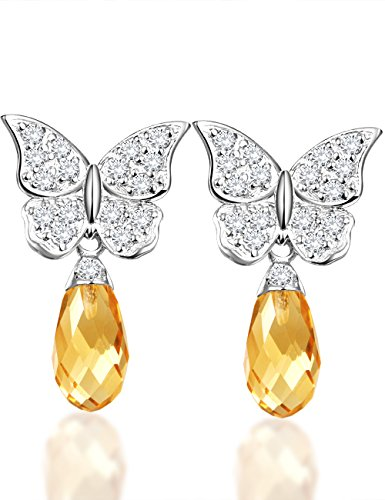Natural Rose Quartz or Green Onyx Butterfly Sterling Silver Dangle Earrings Teardrop Gemstone Gift for Women