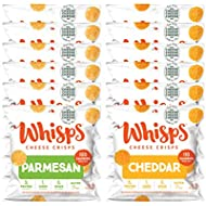 Whisps Cheese Crisps Single Serve 12 Count Variety Pack | Back to School Snack, Keto Snack, Gluten Free, Sugar Free, Low Carb, High Protein | 6 Parmesan & 6 Cheddar (12 x 0.63oz)