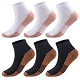 Copper Antibacterial Compression Socks for Men & Women – 3/6 Pairs Copper Infused Ankle Socks for Athletic, Running, Flight Travel – Boost Stamina, Circulation & Recovery