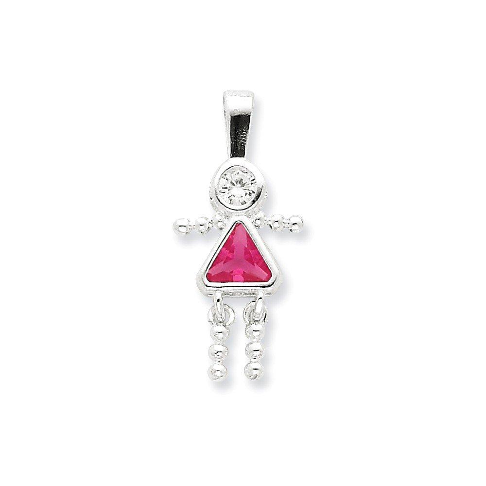 Goldia Sterling Silver CZ /& October Pink CZ Girl Pendant