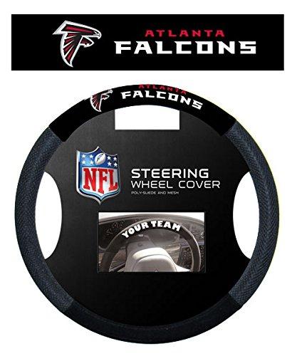 LA Auto Gear Atlanta Falcons NFL Team Logo Car Truck SUV Poly-Suede Mesh Steering Wheel Cover