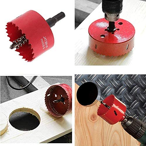 Keepmore 235mm Hole Saw M42 HSS Bi-Metal Circular Hole Cutter with Hexagon Adapter and Centering Drill