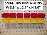 Pegboard Part Bins 12 Kit Hooks to Peg Board - Workbench - Red, Yellow, or Both (12, RED & YELLOW)