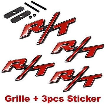 4pcs B177 Red RT R//T Grille 3pcs Emblem Decal Badge Sticker Dodge Charger Ram 1500 Challenger Jeep Grand Cherokee LZLRUN