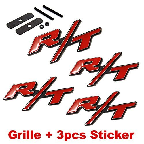 LZLRUN Compatible with 4pcs B177 RT R/T Grille + 3pcs Emblem Decal Badge Sticker for Dodge Charger Ram 1500 Challenger Jeep Grand Cherokee
