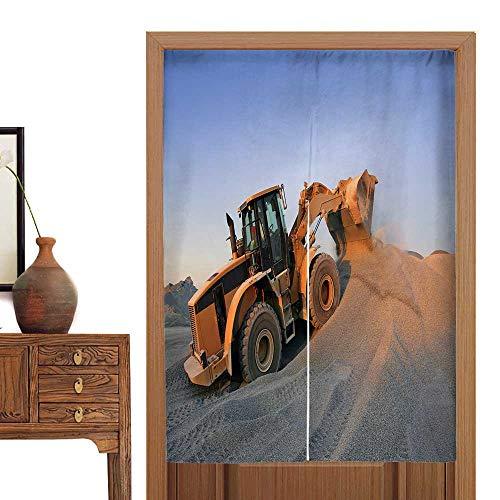 Bulldozer Knob (vanfan Linen Cotton Door Curtain Sunset on a Bulldozer in Action Doorway Curtain Tapestry33.5 Wx33.5 L)