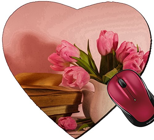 Heart Poem Mat - Liili Mousepad Heart Shaped Mouse Pads/Mat IMAGE ID: 19222011 Poem still life with books and pink tulips