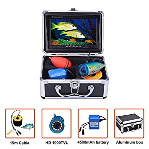 "Underwater Fishing Camera Video Fish Finder System Kit HD 1000TVL 7"" Monitor LCD IP68 15m Cable 4500mAh Rechargeable Battery Night Version for Ice,Lake,Boat,Ocean Fishing"
