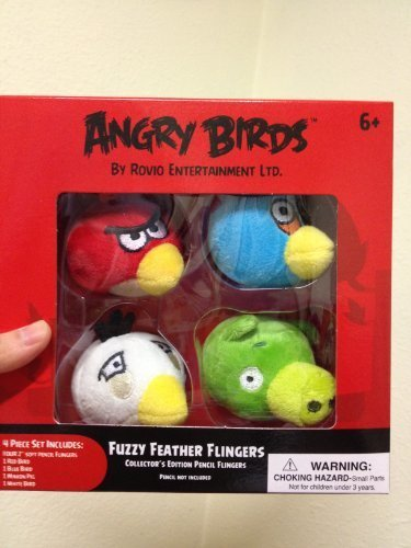 4pc 2'' Angry Birds Fuzzy Feather Flingers Pencil Top - Collector's Edition by Rovio Entertainment Ltd. (Image #1)