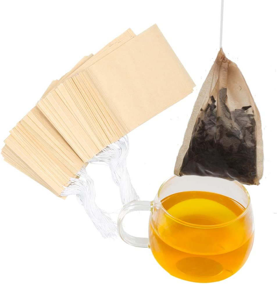 Tinkee Tea Filter bags, safe and natural material, disposable tea infuser, empty tea bag with drawstring for loose leaf tea, set of 100(3.15 x 3.94 inch ) (Initial)