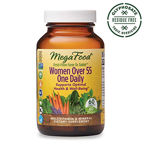 MegaFood, Women Over 55 One Daily, Supports Optimal Health and Wellbeing, Multivitamin and Mineral Dietary Supplement, Vegetarian, 60 tablets 60 servings