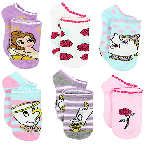 (Disney Princess Belle Beauty and the Beast Girls Womens 6 pack Socks (9-11 Womens (Shoe: 4-10),)
