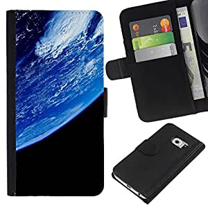 Planetar® Modelo colorido cuero carpeta tirón caso cubierta piel Holster Funda protección Para Samsung Galaxy S6 EDGE / SM-G925(NOT FOR S6!!!) / SM-G925(NOT FOR S6!!!) ( Planet Earth From Space )