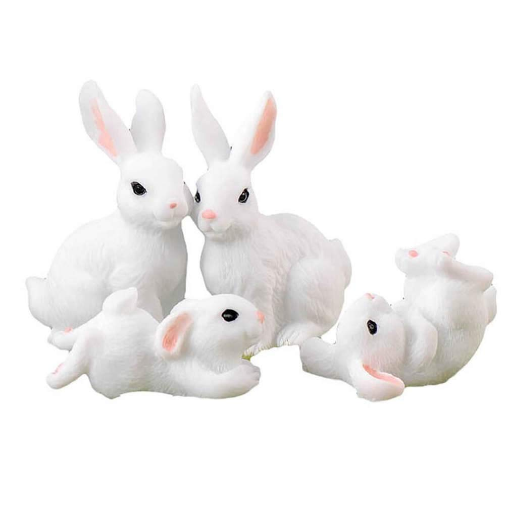 RONRONS 8 Pack Miniature Bunny Figure Animal Rabbit Toys Fairy Garden Party Decoration,White