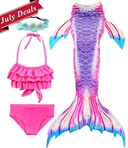 4 PCS Girls Swimsuit Mermaid Tail for Swimming