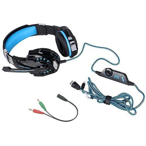AFUNTA G9000 Auriculares estéreo para juegos compatibles con Mac, PS4, PC, Xbox One Controller, computadora portátil, auriculares con cancelación de ruido con micrófono, luz LED, sonido envolvente, orejeras de memoria suave - Azul