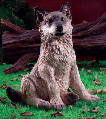 Wolf Pup Garden Statue