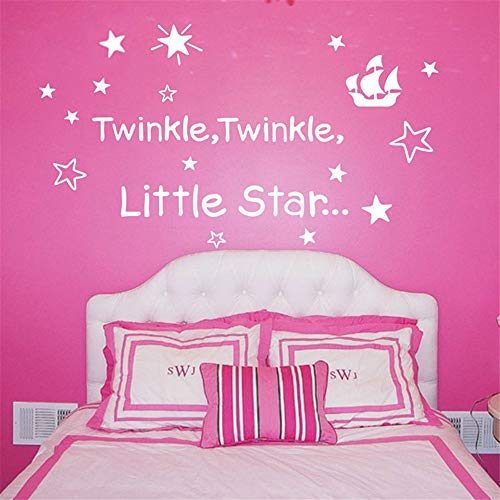 Fielr DIY Removable Vinyl Decal Mural Letter Wall Sticker Baby Sleeping Wall Decor Twinkle Twinkle Little Star Quote Nursery -