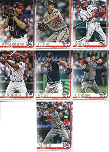 2019 Topps Series 2 Baseball Washington Nationals Team Set of 7 Cards: Stephen Strasburg(#356), Erick Fedde(#398), Victor Robles(#402), Joe Ross(#489), Patrick Corbin(#510), Howie Kendrick(#610), Kurt Suzuki(#654)