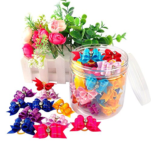 Beirui 20pcs Cute Dog Hair Bows with Rubber Bands - Adorable Rhinestone Bow for Long Hair Dog & Kitten