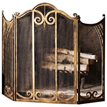 Antique Fireplace Screen >> Amazon Com Classic Scroll Antique Gold Iron Fireplace Screen Home