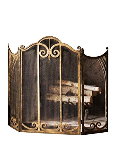 Classic Scroll Antique Gold Iron Fireplace Screen - Decorative Scroll Fireplace Screen