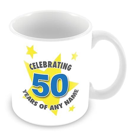 Taza del cumpleaños (50 años) con - nombre de la taza/taza ...