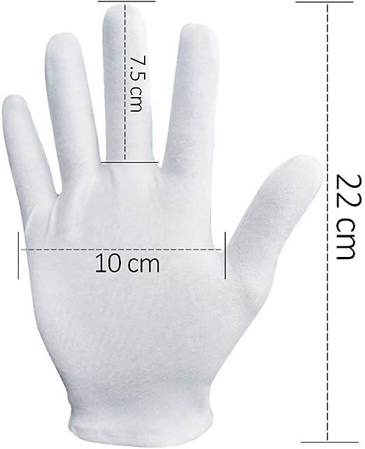 CTGVH Guantes de algodón Blanco para Uso en Etiquetas, 2 Pares de Guantes Blancos Suaves y Lavables para cosméticos, hidratantes, inspección de Calidad, joyería, Tienda de Servicio: Amazon.es: Hogar