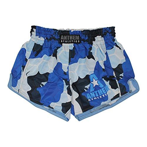 Anthem Athletics New! 10+ Styles Reckoner Retro Muay Thai Shorts - Kickboxing, Thai Boxing - Blue Camo Hex - Large