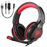PC Gaming Headset with Mic, VPRAWLS 3.5mm Wired Over-Ear Bass Surround Stereo Headphone Noise Cancelling Leather Earmuff & Volume Control for PS4 New Xbox One Mac Laptop Nintendo Switch Computer Games