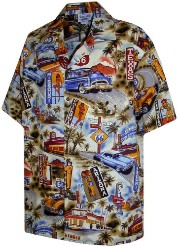 Route 66 Hawaiian Shirts - Mens Hawaiian Shirts - Aloha Shirt - Hawaiian Clothing - 100% Cotton Khaki XL