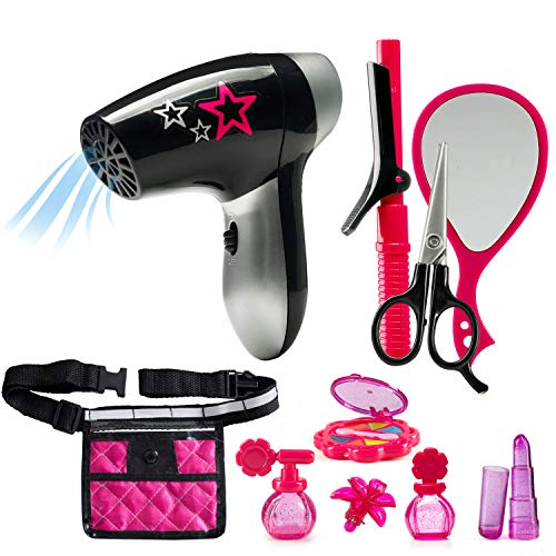 JaxoJoy Beauty Stylist Set – Complete Play Pretend Hair Salon Station Gift Playset for Girls with Toy Blow Dryer, Curler, Scissors, Comb, Mirror & Other Styling Tools – Recommended Ages 3+