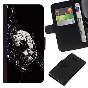 KingStore / Leather Etui en cuir / Samsung ALPHA G850 / Panda Pintura Abstracta Negro Blanco Minimalista