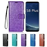 Galaxy S8 Plus Case, HLCT PU Leather Case, With Soft TPU Protective Bumper, Built-In Kickstand, Cash And Card Pockets, For Samsung Galaxy S8 Plus (Purple)