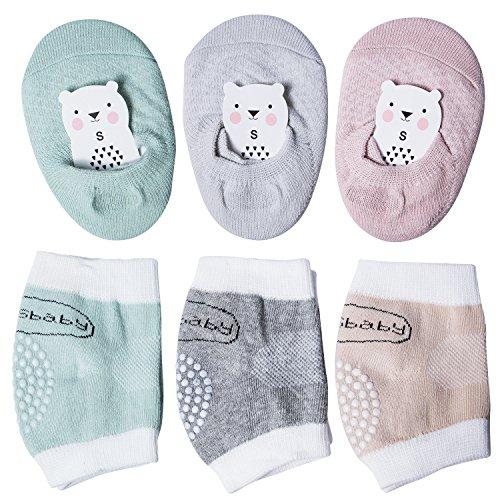 6 Pairs Baby Crawling Anti-Slip Knee, Unisex Baby Toddlers Kneepads and Anti Slip Socks
