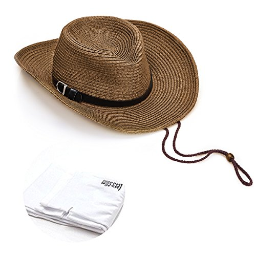 Quality Cowboy Sun Straw Hat Outdoor Beach Travel Hat Wide Brim with Lanyard Foldable for Men and Women Brown with Sun Protection Sleeves, 1 Pair