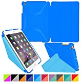 iPad Mini Case, Apple iPad Mini 2 Case, iPad Mini 3 Case Cover, rooCASE Origami PU Leather Case Ultra Slim / Light Weight (Landscape, Portrait, Typing Stand) Smart Cover Auto Sleep/Wake P Blue/B Blue