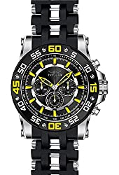 Invicta Men's Sea Spider Black Polyurethane Band Steel Case Swiss Quartz Analog Watch 22473