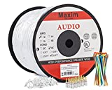 In Wall Speaker Wire | 500 Feet | 12AWG CL3 Rated 4-Conductor Wire White Oxygen Free Copper includes banana plugs cable clips and ties