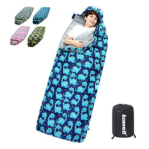 Kowell Dinosaur Sleeping Bag for Kids with Compression Sack, Wearable Kids Sleeping Bag Lightweight Waterproof for Warm & Cold Weather, 3 Seasons Kids Camping/Traveling/Backpacking Sleeping Bag ()