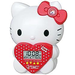 SEIKO CLOCK ( Seiko clock ) Hello Kitty three-dimensional character alarm clock ( white pearl paint ) JF377A Hello Kitty 40th Anniversary limited model JF377A