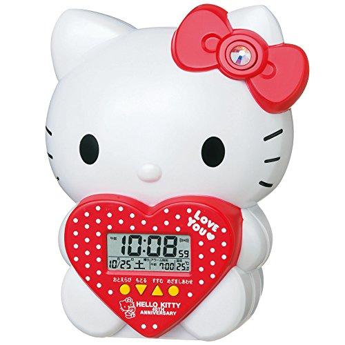 SEIKO CLOCK ( Seiko clock ) Hello Kitty three-dimensional character alarm clock ( white pearl paint ) JF377A Hello Kitty 40th Anniversary limited model (Pearl White Clock)