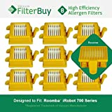 8 - iRobot Roomba 700 Filters. Designed by FilterBuy to replace iRobot Roomba 700 Series Vacuum AeroVac Filters
