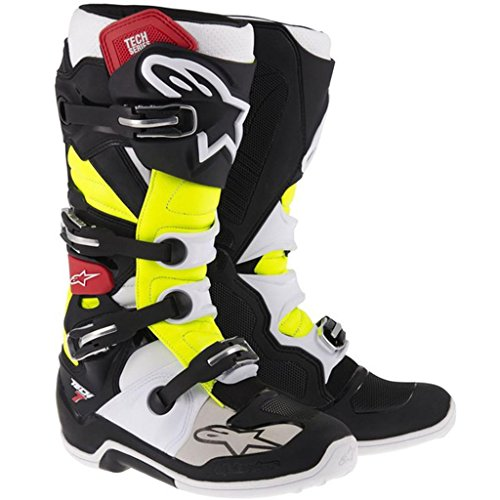 Alpinestars Adult MX Tech 7 Motocross Boots Black Red Yellow Size - Footpeg Plate